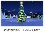 winter landscape with skating...   Shutterstock .eps vector #1201711294