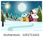 Winter Landscape With Cottages  ...