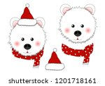 white bear santa claus with red ... | Shutterstock .eps vector #1201718161