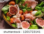 herby salad  fresh figs  baked... | Shutterstock . vector #1201723141