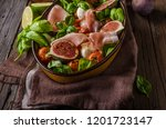 herby salad  fresh figs  baked... | Shutterstock . vector #1201723147