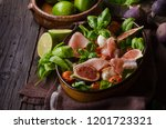 herby salad  fresh figs  baked... | Shutterstock . vector #1201723321