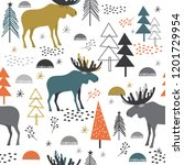 seamless christmas pattern with ... | Shutterstock .eps vector #1201729954