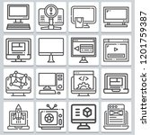 set of 16 monitor outline icons ... | Shutterstock .eps vector #1201759387