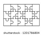 15 white puzzles pieces... | Shutterstock .eps vector #1201786804