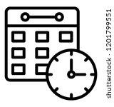 calendar with clock  timetable... | Shutterstock .eps vector #1201799551