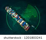 Red Cover Container Ship In...