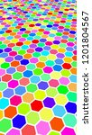 honeycomb multi colored.... | Shutterstock . vector #1201804567