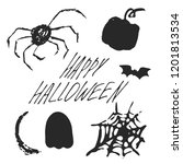 set of halloween hand drawn... | Shutterstock .eps vector #1201813534