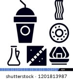 set of 6 food filled icons such ... | Shutterstock .eps vector #1201813987