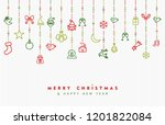 merry christmas and new year... | Shutterstock . vector #1201822084
