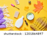 flat lay autumn female stuff on ... | Shutterstock . vector #1201864897