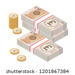 isometric stacks of 10 pound... | Shutterstock .eps vector #1201867384
