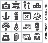 set of 16 tool filled icons...   Shutterstock .eps vector #1201869781