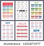 calendar 2019. colorful set.... | Shutterstock .eps vector #1201871977
