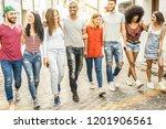 multiracial millennial friends...   Shutterstock . vector #1201906561