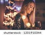 cute young smiling woman... | Shutterstock . vector #1201910344