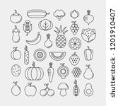 vegetables  fruits and berries... | Shutterstock .eps vector #1201910407