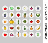 vegetables  fruits and berries... | Shutterstock .eps vector #1201914574