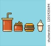 Vector Pixel Style Burger  ...