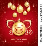 pig is a symbol of the 2019... | Shutterstock .eps vector #1201933564