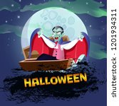 halloween poster design with... | Shutterstock .eps vector #1201934311
