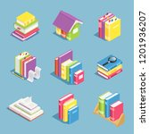 isometric books. pile of book ... | Shutterstock .eps vector #1201936207
