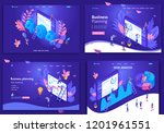 set of web page design... | Shutterstock .eps vector #1201961551