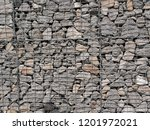 wall of gabions filled with... | Shutterstock . vector #1201972021