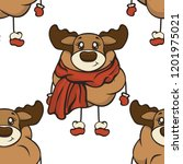 cute christmas cartoon deer... | Shutterstock .eps vector #1201975021