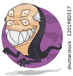 scary ghost like a grandpa with ... | Shutterstock .eps vector #1201980517