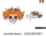sugar catrina skull for day of... | Shutterstock .eps vector #1201987057