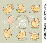 set of cute tiny yellow pig in... | Shutterstock .eps vector #1201992847