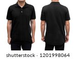 black blank polo t shirt on... | Shutterstock . vector #1201998064