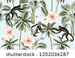 tropical vintage monkey  pink... | Shutterstock .eps vector #1202036287