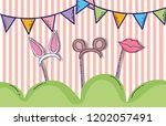 party flags with headbands... | Shutterstock .eps vector #1202057491
