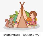 woman indigenous with turkey...   Shutterstock .eps vector #1202057797
