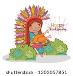 man indigenous with turkey food ...   Shutterstock .eps vector #1202057851