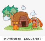 man indigenous wearing feathers ...   Shutterstock .eps vector #1202057857