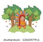 man indigenous with trees and...   Shutterstock .eps vector #1202057911