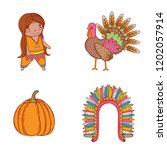 set man indigenous with turkey...   Shutterstock .eps vector #1202057914