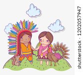 woman and man indigenous with...   Shutterstock .eps vector #1202057947