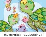 aquatic marine life | Shutterstock .eps vector #1202058424