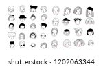 cute cartoon faces. different... | Shutterstock .eps vector #1202063344