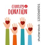 hands with hearts charity... | Shutterstock .eps vector #1202068501