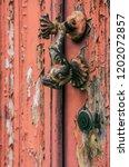fish shaped door knocker on an... | Shutterstock . vector #1202072857