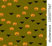 seamless halloween pattern of... | Shutterstock .eps vector #1202077567