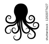 Octopus Silhouette In Vintage...