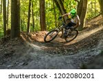 downhill mountain biker.  | Shutterstock . vector #1202080201