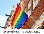rainbow flag of the lgbt...   Shutterstock . vector #1202085367